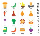 set of 16 icons such as grape ...