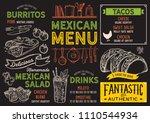 mexican restaurant menu. vector ...   Shutterstock .eps vector #1110544934