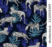bright seamless animal pattern... | Shutterstock .eps vector #1110545309