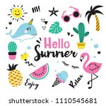 hello summer cute hand drown... | Shutterstock .eps vector #1110545681