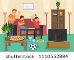 cartoon friends fans eat pizza... | Shutterstock .eps vector #1110552884