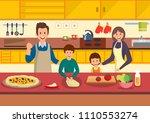 happy cartoon family cooks... | Shutterstock .eps vector #1110553274