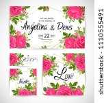 wedding floral template invite  ... | Shutterstock .eps vector #1110555491