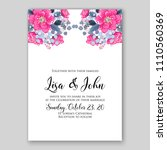 Stock vector wedding invitation vector printable template card floral bridal wreath anemone rose peony poppy 1110560369