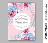 pink peony wedding invitation...   Shutterstock .eps vector #1110560669