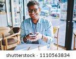 cheerful hindu blogger laughing ... | Shutterstock . vector #1110563834