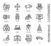 set of 16 icons such as car ...