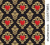 seamless damask pattern with... | Shutterstock .eps vector #1110573851