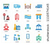 set of 16 icons such as school  ...