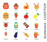 set of 16 icons such as onion...