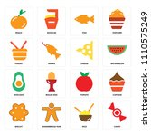 set of 16 icons such as candy ...