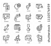 set of 16 icons such as alert ...