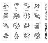 set of 16 icons such as planet  ...