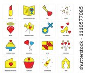 set of 16 icons such as tent ...