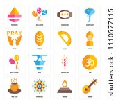 set of 16 icons such as veena ...