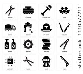 set of 16 icons such as pliers  ...