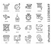 set of 16 icons such as global...