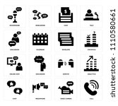 set of 16 icons such as call ...