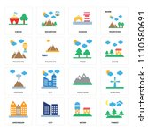 set of 16 icons such as forest  ...