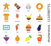 set of 16 icons such as noodles ... | Shutterstock .eps vector #1110580751