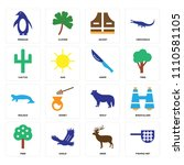 set of 16 icons such as fishing ...