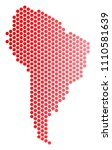 red pixelated south america map....   Shutterstock .eps vector #1110581639