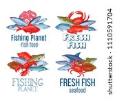 set vector banners fish.... | Shutterstock .eps vector #1110591704