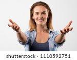 portrait of happy cheerful... | Shutterstock . vector #1110592751