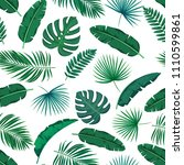vector green tropical leaves... | Shutterstock .eps vector #1110599861