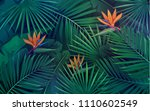 vector tropical background with ... | Shutterstock .eps vector #1110602549