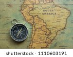 vintage map south america and... | Shutterstock . vector #1110603191