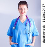 portrait of young woman doctor... | Shutterstock . vector #1110610487