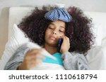 sick african american girl with ... | Shutterstock . vector #1110618794