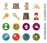a pizza cutter  a slice  a menu ... | Shutterstock .eps vector #1110621221