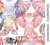 seamless pattern with elephants.... | Shutterstock .eps vector #1110624431
