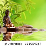 buddha in meditation with... | Shutterstock . vector #111064364