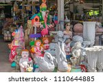 colorful garden ornaments at a... | Shutterstock . vector #1110644885