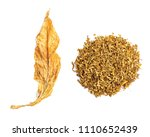 tobacco leaf and cut tobacco on ... | Shutterstock . vector #1110652439