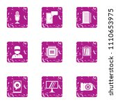 glare display icons set. grunge ... | Shutterstock .eps vector #1110653975