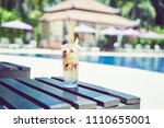 a glass of water juice on... | Shutterstock . vector #1110655001