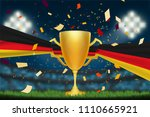 trophy cup with germany flag on ... | Shutterstock .eps vector #1110665921