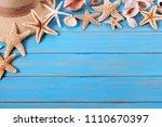 tropical beach summer starfish... | Shutterstock . vector #1110670397