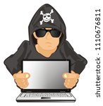 Hacker With Skull And Bones On...