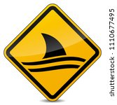 illustration of shark warning... | Shutterstock .eps vector #1110677495