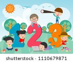 cartoon kids with 123 numbers ... | Shutterstock .eps vector #1110679871