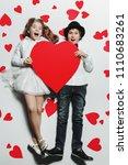 happy pre teen boy and girl... | Shutterstock . vector #1110683261
