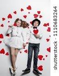 happy pre teen boy and girl ... | Shutterstock . vector #1110683264