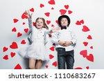 happy pre teen boy and girl ... | Shutterstock . vector #1110683267