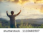 man with open arms in front of... | Shutterstock . vector #1110683507