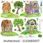 design set with beautiful... | Shutterstock . vector #1110683657